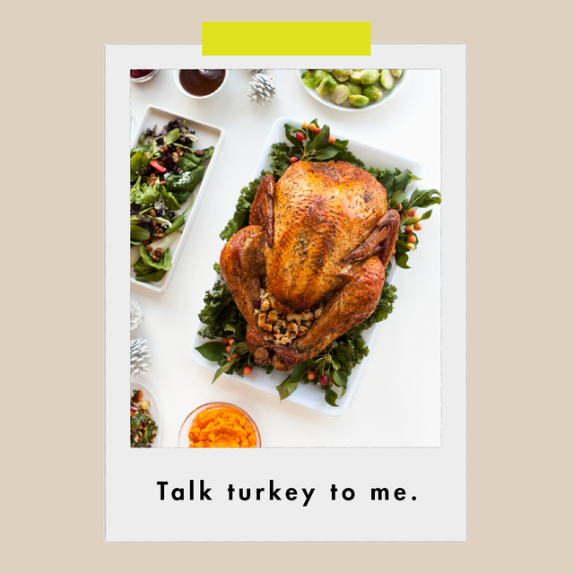 """a photo of a roasted turkey on a bed of greens with the words """"talk turkey to me"""" underneath"""