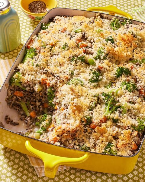 broccoli wild rice casserole in yellow dish