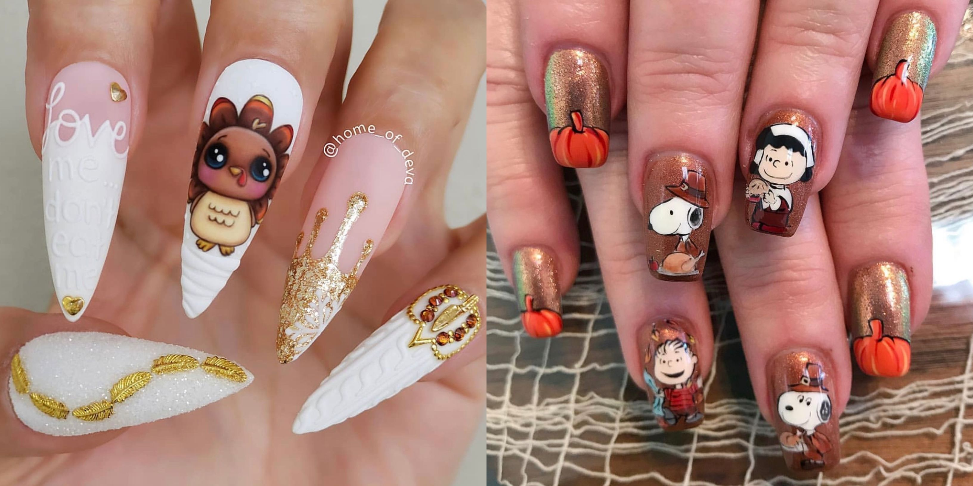 35 Best Thanksgiving Nails 2020 Fall Nail Designs And Colors For Thanksgiving