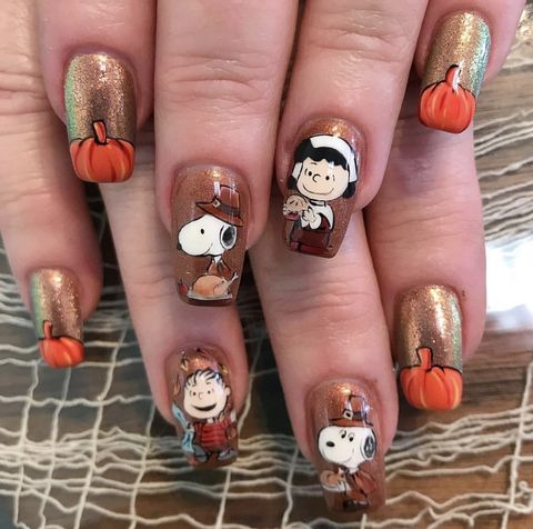 thanksgiving nails peanuts