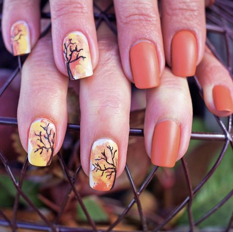 leaves falling inspired nail art in fall colors