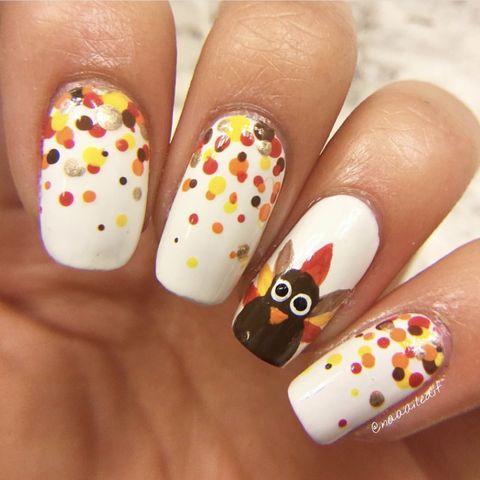 thanksgiving nails turkeys