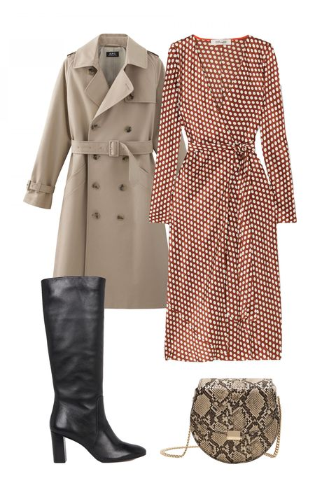 Clothing, Trench coat, Coat, Footwear, Outerwear, Beige, Dress, Fashion, Boot, Riding boot,