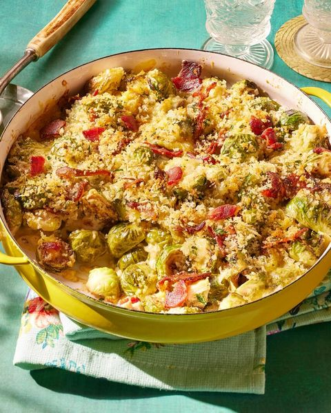 brussels sprouts casserole in yellow dish