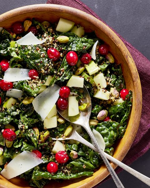kale salad with pickled cranberries and crispy quinoa