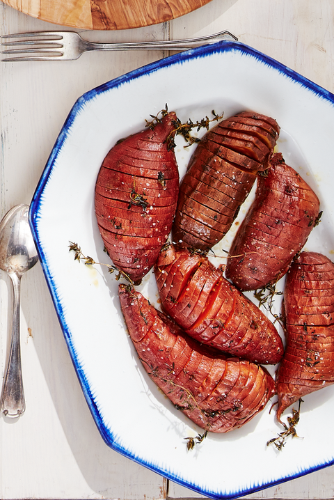 thanksgiving recipes roasted hasselback sweet potatoes