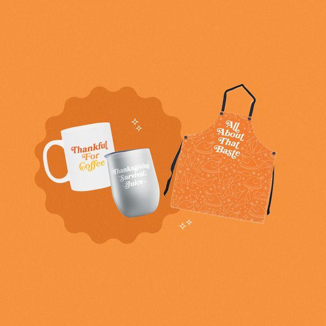 delish thanksgiving 2020 merch collection, apron, wine glasses, mugs