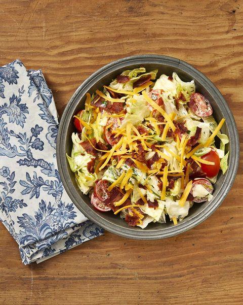 thanksgiving salad recipes ranch chopped salad on wood surface