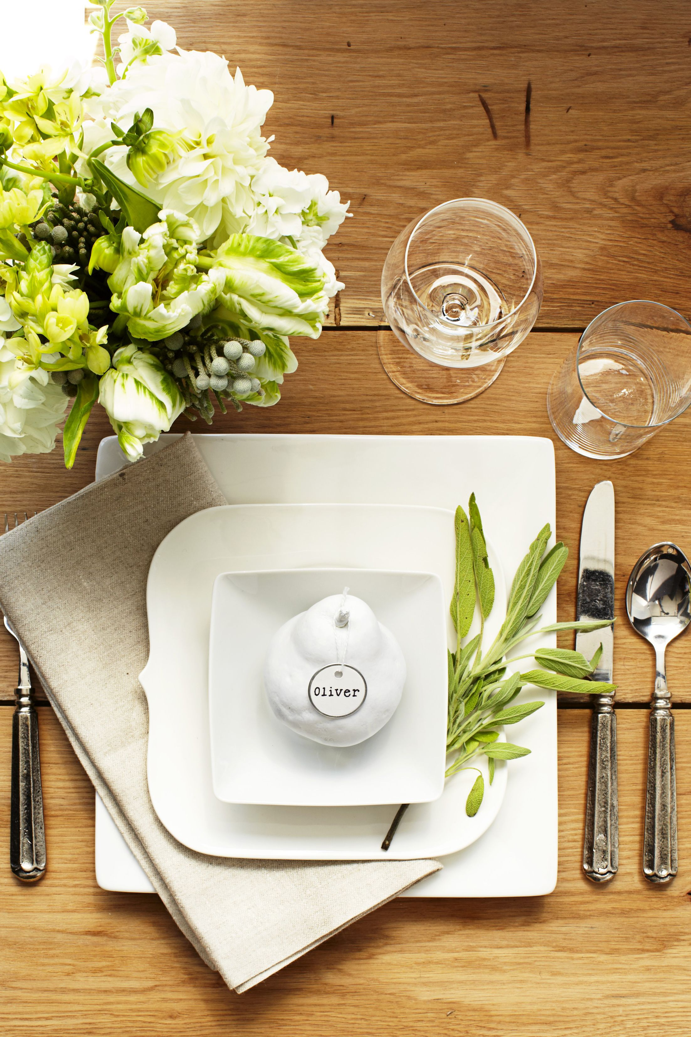 minimal white Thanksgiving Table Setting
