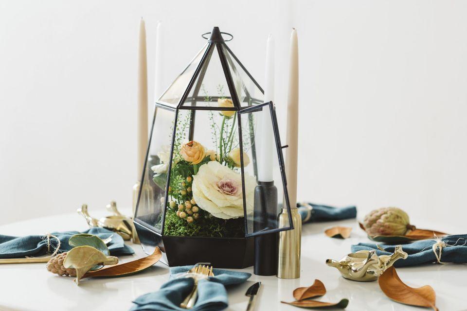 floral terrarium thanksgiving centerpiece