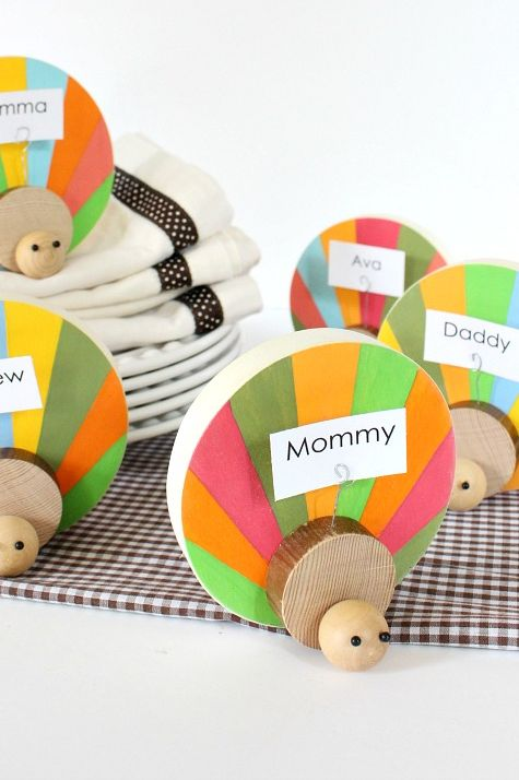 kids turkey place card craft for thanksgiving