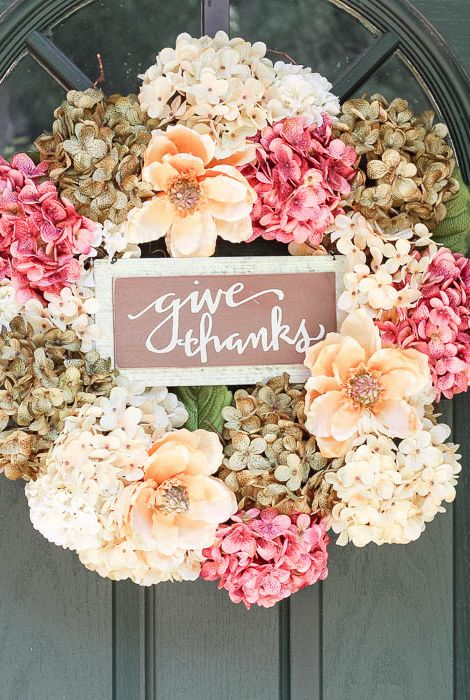 give thanks hydrangea thanksgiving wreath