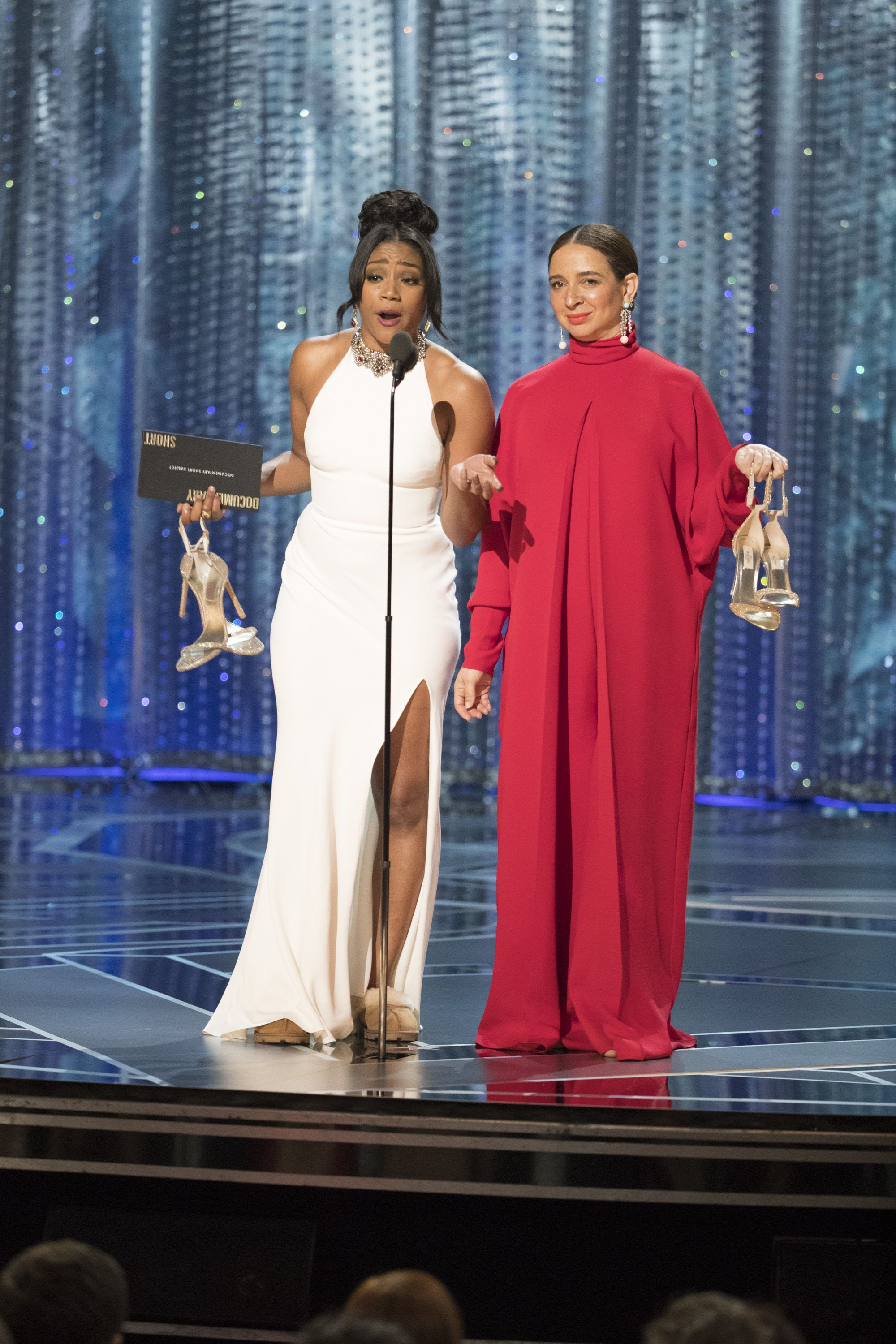 Tiffany Haddish When Haddish went on stage to present an award at the 2018 Oscars, she swapped her heels for a pair of UGGs and won the admiration of the internet . The shoes peeked out from underneath her Alexander McQueen dress and, say no more, we're buying them for $83.