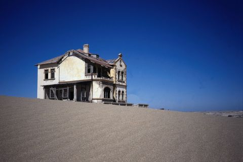 The abandoned mining town of Kolmanskop, a ghost town now, but the substantial diamond mining town once boasted a casino, skittle alley and theatre