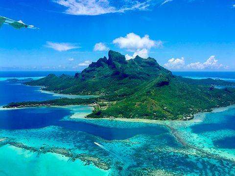 the amazing aerial view of the paradise bora bora island, french polynesia