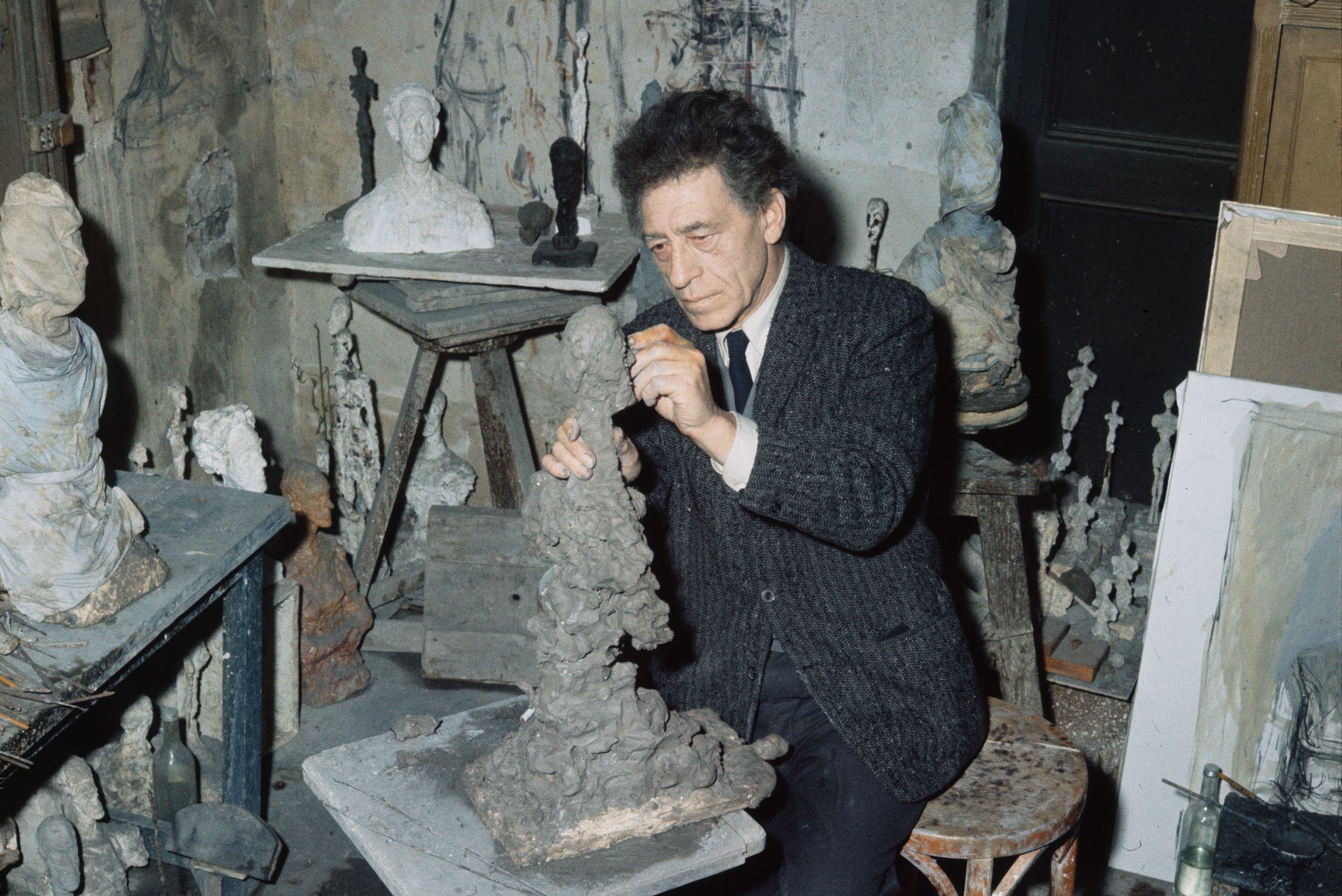 Giacometti Working in His Studio