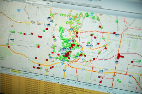 the atlanta police department displays a city map through predpol, a predictive crime algorithm used to map hotspots for potential crime, at the operation shield video integration center on january 15, 2015 in atlanta, georgia