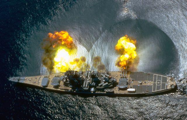 the battleship uss iowa during target exercise