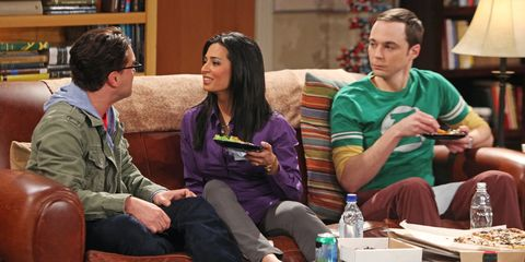 leonard, priya and sheldon in the big bang theory season 4