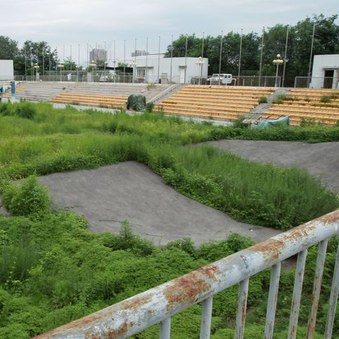 the bmx stadium for the beijing 2008 olympic games  is abandoned and is now rent by an automobile sales company 07aug13