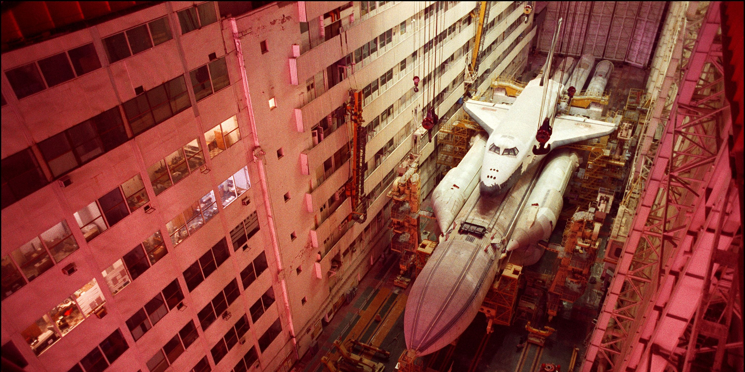 The Buran Space Shuttle And The Energia Rocket in the Baikonur Cosmodrome in Kazakhstan on November 22, 1999.