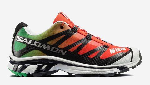 Shoe, Footwear, Running shoe, White, Orange, Green, Sneakers, Outdoor shoe, Athletic shoe, Walking shoe,