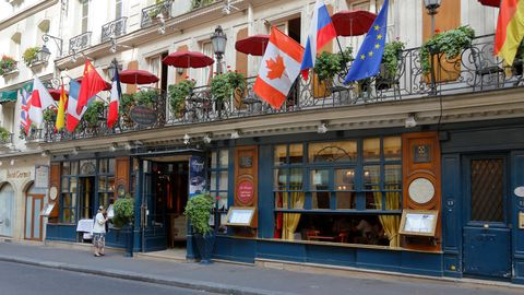 The Cafe Procope in Paris, France, historic cafe where Ben Franklin, Voltaire and others attended
