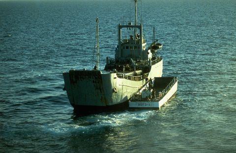 Captured Iranian ship and US landing craft