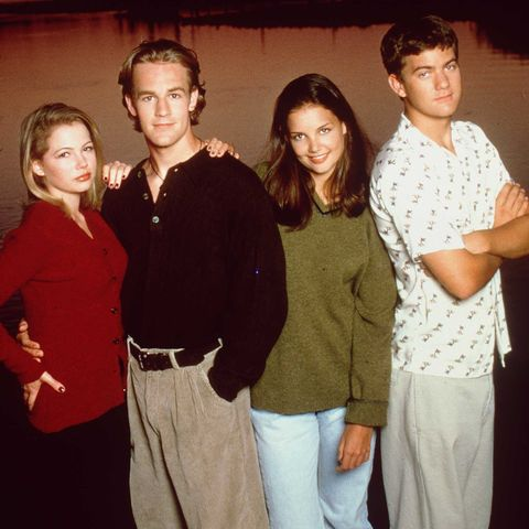 "1997 the cast of ""dawson's creek"" from left to right michelle williams jennifer lindley, james v"