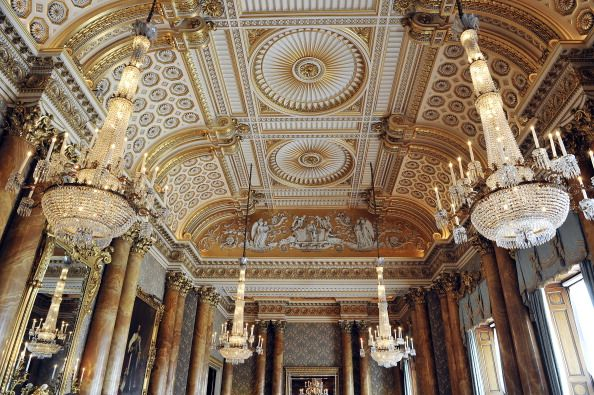 The ceiling in the blue drawing room.