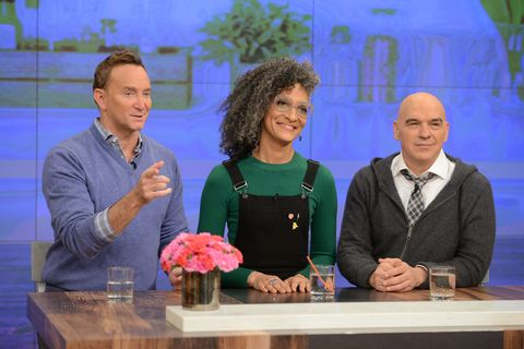 the chew hosts carla hall michael symon and clinton kelly react