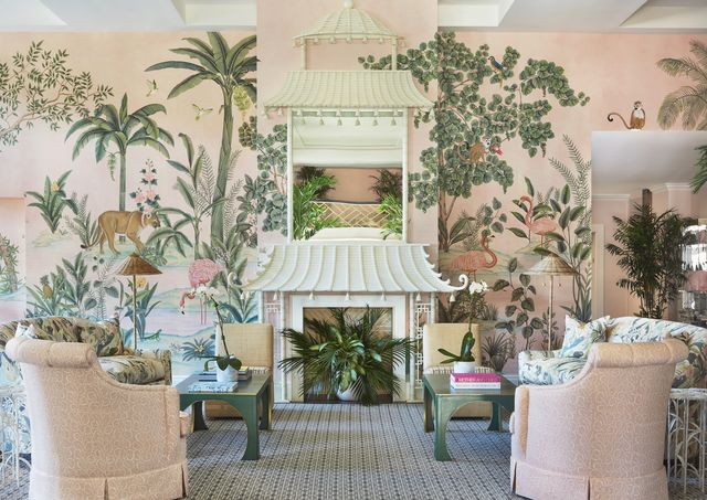 a de gournay mural in the lobby of the colony palm beach hotel