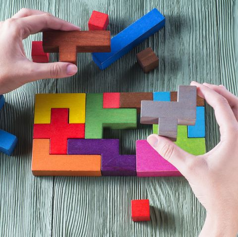 the concept of logical thinking wooden geometric shapes