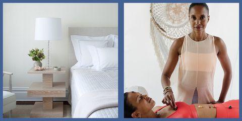 White, Skin, Beauty, Furniture, Shoulder, Room, Comfort, Bed, Leg, Bed sheet,