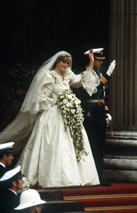 the prince and princess of wales leave st pauls cathedral after their wedding, 29th july 1981 she wears a wedding dress by david and elizabeth emmanuel and the spencer family tiara photo by jayne fincherprincess diana archivegetty images