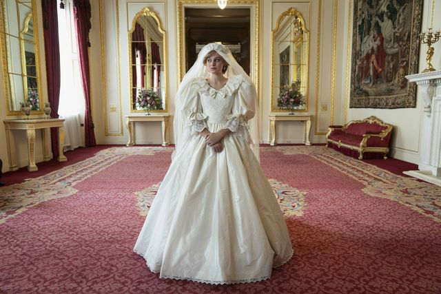 the crown season four princess diana wedding gown emma corrin