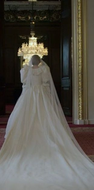 emma corrin as princess diana wearing wedding dress in buckingham palace, the crown season 4 teaser trailer