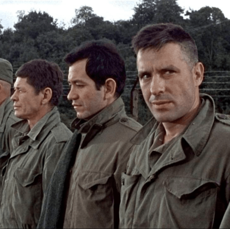 The Dirty Dozen An impressive ensemble cast—including Lee Marvin, Ernest Borgnine, Charles Bronson, John Cassavetes, and Donald Sutherland—united to star in this action classic about a American army major who must lead a team of convicts on a assassination mission during WWII.