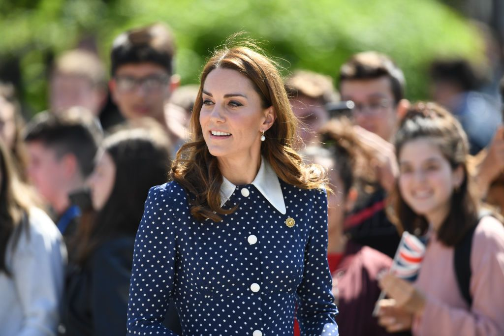 Kate Middleton Wore a Chic Navy Polka Dot Alessandra Rich Dress for Her Bletchley Park Visit