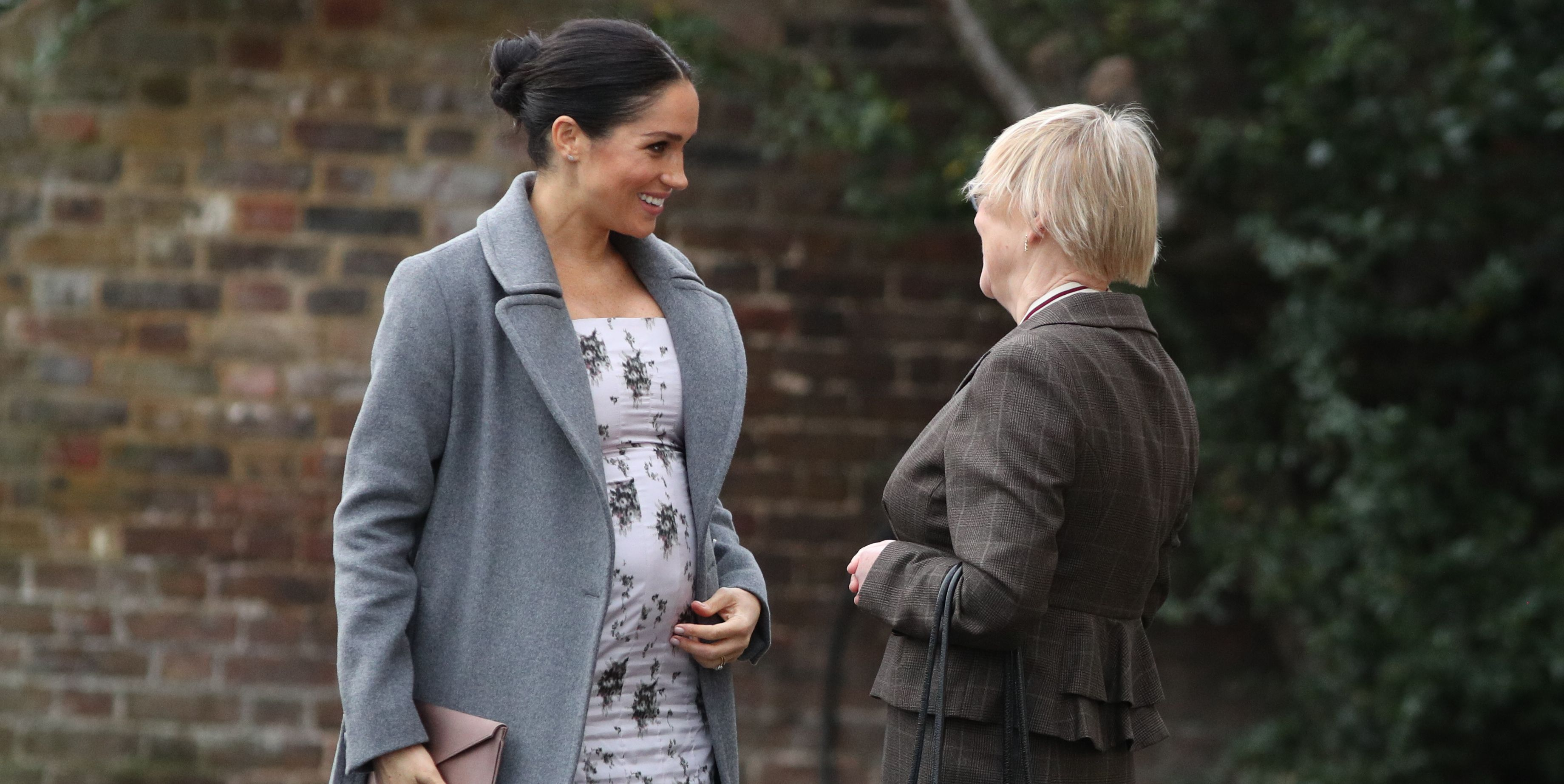 Meghan Markle Wears a Fitted Floral Dress on a Solo Visit to a Nursing Home