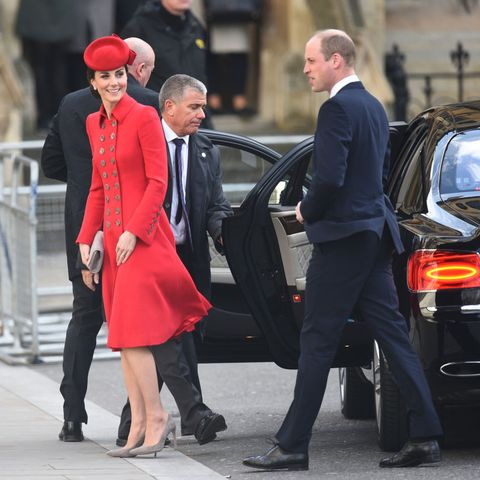 4c7fc2e5 Kate Middleton Wears Red Catherine Walker Coat to Westminster Abbey ...