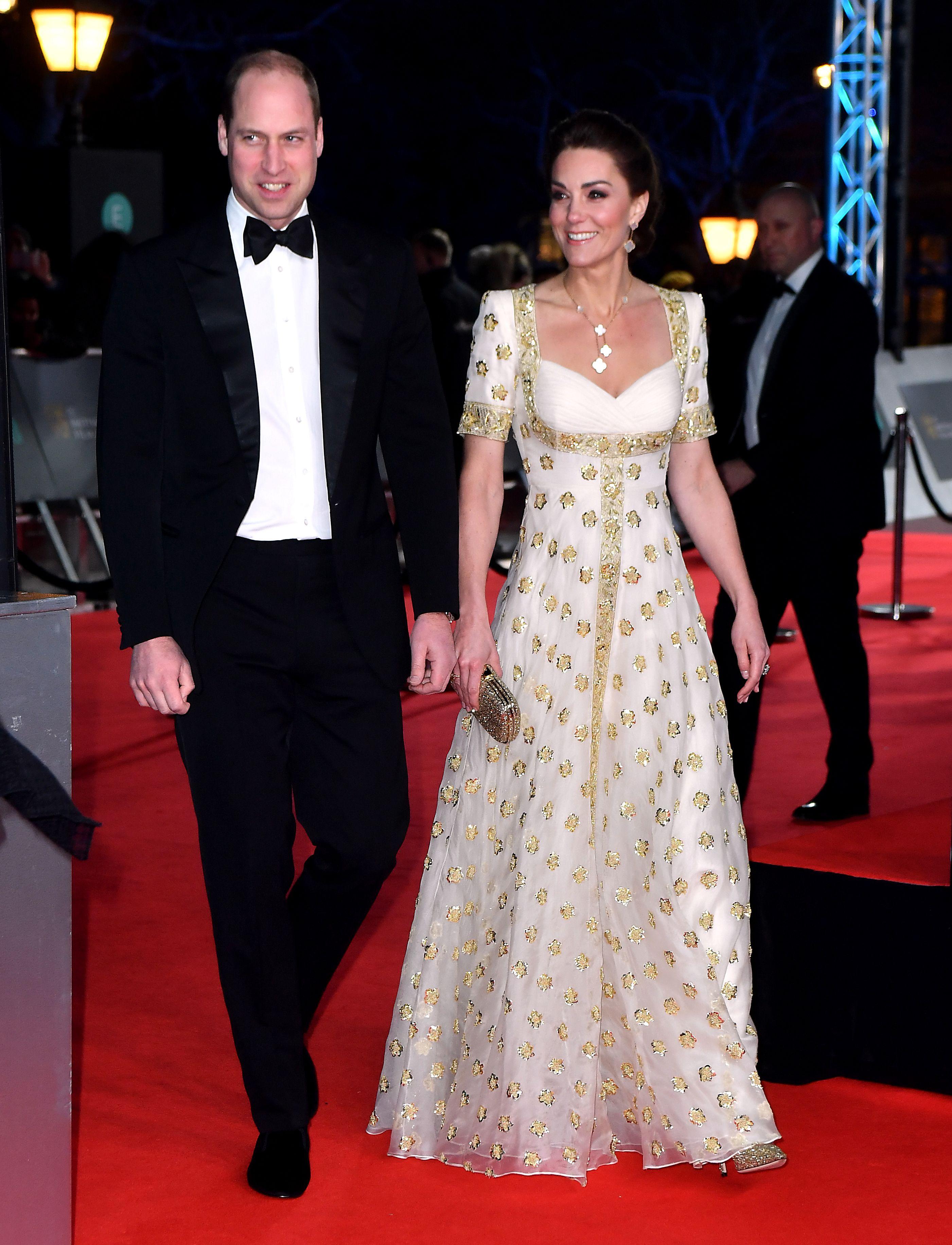 Kate Middleton mother of pearl flower earrings worn at BAFTA 2020
