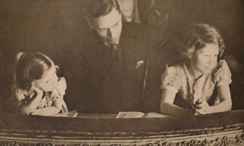 the duke of york and princesses elizabeth and margaret at the pantomime, 6 february 1935  artist unknown