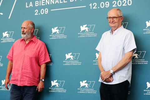 venice, italy   september 04 l r roger michell and jim broadbent attend the photocall of the movie the duke at the 77th venice film festival on september 04, 2020 in venice, italy photo by vittorio zunino celottogetty images