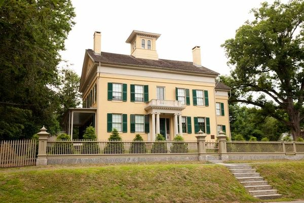 """the emily dickinson museum, also known as the homestead, in amherst, massachusetts, which was replicated for the apple tv series """"dickinson"""""""