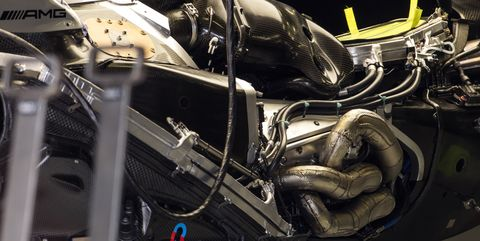 the engine of the mercedes w10 in the pits during previews