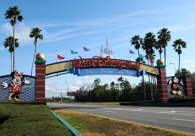 the entrance to disney world is deserted on the first day of