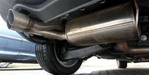 The exhaust pipes of a parked diesel car seen In Cologne.    A...