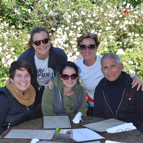 grady and fauci with their three daughters in 2019, from left to right jenny, alison, megan
