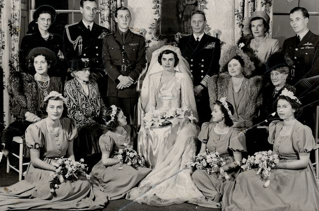 the family group was taken at lady patricia mountbatten's wedding included are duchess of kent ear